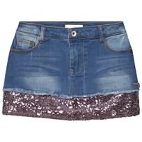 Guess Mid Wash Denim Sequin Skirt BLUU