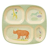 RICE A/S Bamboo Melamine Divided Plate with Animal Print Boys Animal Print