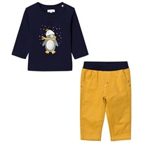 Absorba Navy Penguin Print and Applique Tee and Mustard Cords Set 75