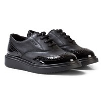 Geox Black Leather and Patent Jr Thymar Brogue Shoes C9999