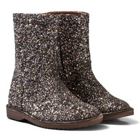 Bisgaard Black Glitter Leather Lined Boots Black