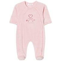 Absorba Pink Bird Embroidered Velour Babygrow 30