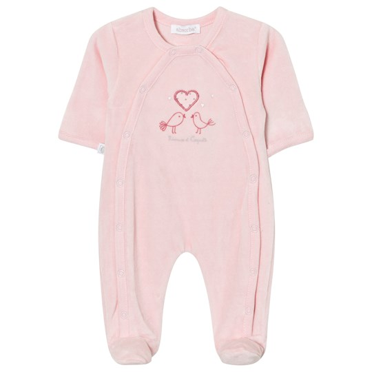 Absorba Footed Baby Body Pink Bird Embroidered Velour 30