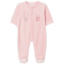 Absorba Footed Baby Body Pink Cat Print Velour