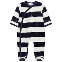 Absorba Navy and White Cloud Applique Stripe Velour Babygrow 04