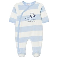 Absorba Pale Blue Car Applique Stripe Velour Babygrow 41