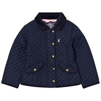 Joules Navy Quilted Jacket with Floral Lining French Navy