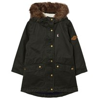 Joules Khaki Half Shearling Lined Parka with Detachable Faux Fur Hood EVERGLADE