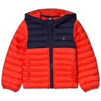 Joules Red and Navy Packaway Puffer Coat Punainen
