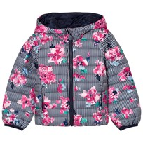 Joules Multi Stripe and Floral Print Packaway Puffer Hooded Jacket STRIPE FLORAL