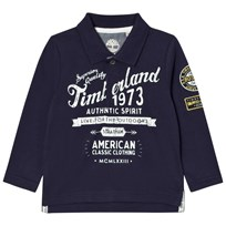 Timberland Navy Printed Branded Long Sleeve Polo 85T