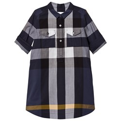 Burberry Check Cotton Shirt Dress Navy
