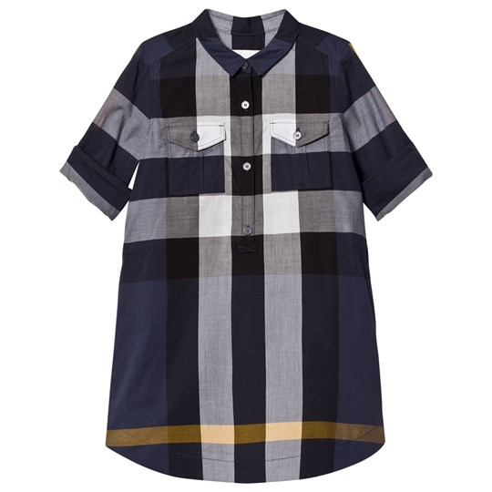 Burberry Check Cotton Shirt Dress Navy PALE NAVY