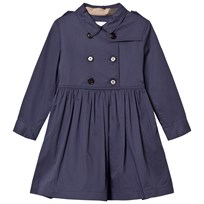 Burberry Navy Stretch Cotton Trench Dress Storm Blue