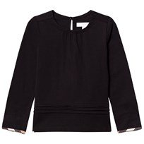 Burberry Black Gissele Long Sleeve Tee with Classic Check Trim Black
