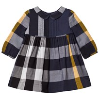 Burberry Navy Check Liz Long Sleeve Dress PALE NAVY