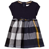 Burberry Navy Jersey and Woven Check Mini Rosey Dress PALE NAVY
