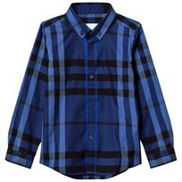 Burberry Check Button-Down Shirt Brilliant Blue Brilliant Blue