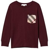 Burberry Oxblood Long Sleeve Tee with Check Pocket OXBLOOD