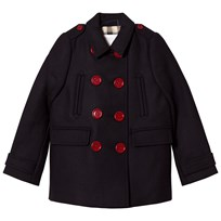 Burberry Navy Willow Wool Double Breasted Coat Marinblå