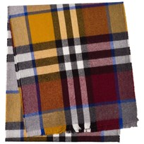 Burberry Red, Blue and Orange Exploded Check Scarf BURGNDY/OCHRE YELLOW