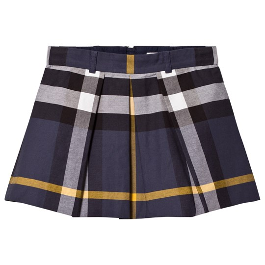 Burberry Pleated Check Cotton Skirt PALE NAVY
