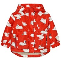 Stella McCartney Kids Red Swan Print Rhonda Hooded Coat 6565