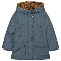 Stella McCartney Kids Blue Blythe Hooded Jacket with Tiger Faux Fur Lining 4961