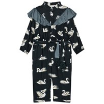 Stella McCartney Kids Navy Ariel Swan Print Frill Jumpsuit 3066