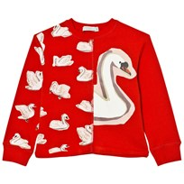 Stella McCartney Kids Red Swan Print June Sweatshirt 6564