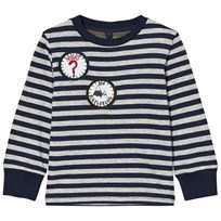 Stella McCartney Kids Navy and White Badge Detail Crumble Tee 4302