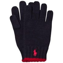 Ralph Lauren Navy/Red Merino Gloves 001