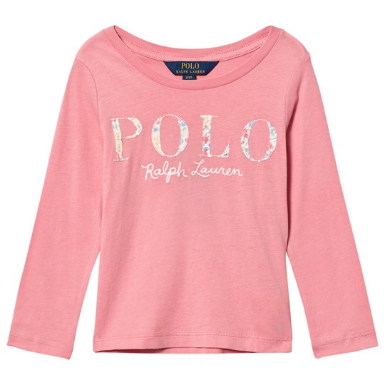 Ralph Lauren Long Sleeve Floral Applique Tee Pink 002