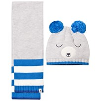 Billybandit Grey Bear Pomo Pom Hat and Scarf Set A06