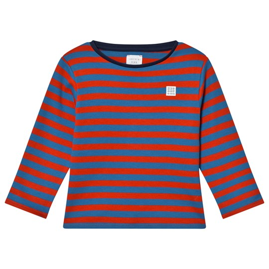 Carrément Beau Red and Navy Striped Long-Sleeve T-shirt V59
