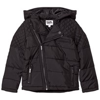Karl Lagerfeld Kids Black Quilted Biker Puffer Coat 09B