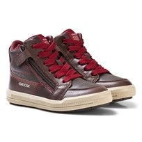 Geox Brown Jr Arzach Nappa Leather Velcro and Zip Trainers C0752