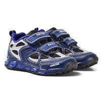 Geox Navy and Royal Blue Jr Shuttle Light Up Velcro Trainers C4226