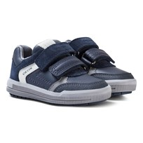 Geox Navy Suede Jr Arzach Velcro Trainers C0661