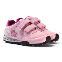 Geox Pink Glitter and Diamante Winged Jr New Jocker Velcro Trainers C0799