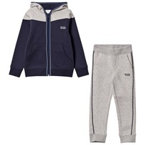 BOSS Branded Tracksuit Grey/Navy