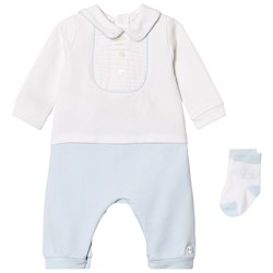 Emile et Rose Langley One-Piece and Sock Set in Blue and White