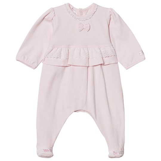 Emile et Rose Lucia Pink Footed Baby Body with Lace Trim Pale Pink