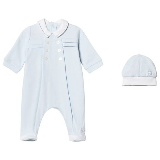 Emile et Rose Lance Footed Baby Body and Beanie Set in Blue Pale Blue