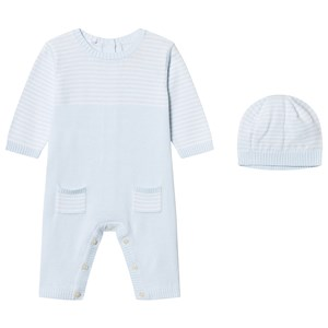 Image of Emile et Rose Leo One-Piece Knit and Beanie Set in Blue and White 9 months (2743752605)