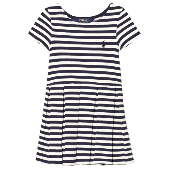 Ralph Lauren Striped Pleated Ponte Dress Navy 001