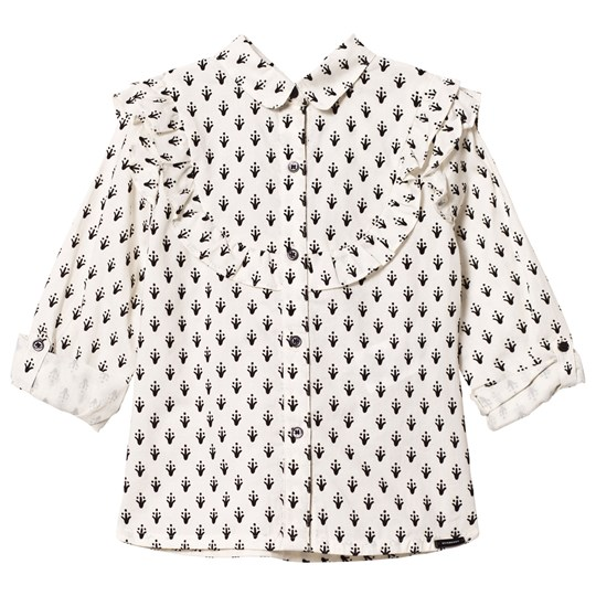 Burberry White and Black Frill Blouse NATURAL WHITE