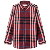 Burberry Check Button-Down Shirt Carmine Red CARMINE RED