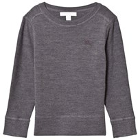 Burberry Grey Merino Wool Knit Franco Jumper with Elbow Patches MID GREY MEL