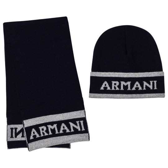 Emporio Armani Navy and Grey Branded Hat and Scarf Set 06935